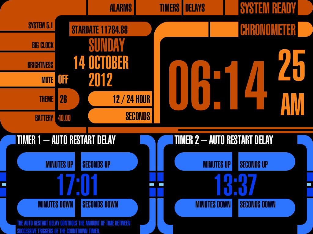 Clock Tacular LCARS App for the iPad